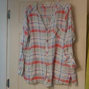 FOXCROFT Womens Plaid Plus Size Tunic